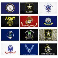 EE.UU. Bandera del Ejército USMC 13 Estilos Envío Gratis Fábrica Directa Venta al por mayor 3x5fts 90x150cm Fuerza Aérea Skull Gadsden Camo Ejército Banner Estados Unidos Marines