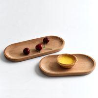 Eco-amigável paletes de madeira de madeira bandeja de copo oval sobremesa frutas prato bolo biscoitos pratos de mesa para crianças Home cozinha placas bh5088 tyj