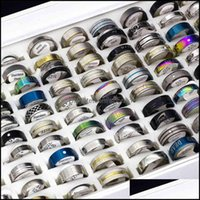 Band Jewelrywhole 50Pcs Lots Mens Womens Stainless Steel Fashion Jewelry Party Gift Wedding Rings Mix Style Drop Delivery 2021 Qeuu9