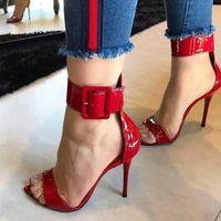 Pzilae 2020 Moda Mujeres Sandalias Sandalias de Patente Rojo Sandalias de Talón Alto Toe Abre Toe Tobillo Hebilla Correa Sexy Señoras Party Shoes Sexy Q53P #