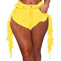 Sexy club nocturno mujer denim pantalones cortos de moda borla bolsa cadera sexy flaco recta casual dama 210714
