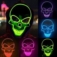 Halloween Glowing EL Line Skull Ghost Face Mask Scary LED Light Skeleton Masks Luminous Halloweens Cosplay Party Clothing Horror Decoration
