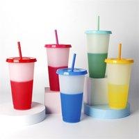 Coppa di colore di colore da 24 once con la paglia Set di paglia Drink della tazza della tazza di bevanda scolorimento beventi Bicchieri del coperchio Estate Caffè ghiacciato Drinkware 952 Z2