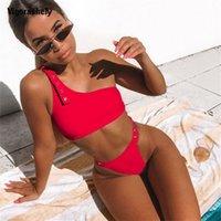 Sexy Bikini Red Bikini a vita alta Taglio Costume da bagno Donne Push Up Swimwear Summer Beachwear Solid One Spalla Bikini Costume da bagno 210316