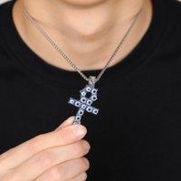 Hips Hops Punk Rap Jewelry 18K Gold Plating Inlay Turkish Blue Eyes Ankh Cross Pendant Necklace