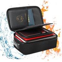 Sacs de rangement Sac de fichier avec verrouillage ignifuge imperméable à 3 couches Document sécurisé Pochette de voyage portable pour documents Mini ordinateurs portables