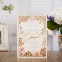 1 шт. Образец Пожелания Лазерный лазер Вырезать свадебные приглашения Карты с многоцветной флорой дизайн для брачной вечеринки