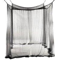 Neue 4-Eck-Bett-Netz-Baldachin-Moskitonetz für Queen / King-Size-Bett 190 * 210 * 240 cm (schwarz) Bett Moskitonetz