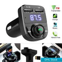 재고 DHL 무료 FM X8 송신기 AUX 모듈레이터 블루투스 핸즈프리 자동차 키트 자동차 오디오 MP3 플레이어 3.1A 빠른 충전 듀얼 USB 자동차 충전기
