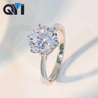 Qyi 숙녀 클래식 6 Prong Sona Diamond 2 CT / 3 CT / 4 CT 솔리테어 약혼 반지 925 스털링 실버 결혼 반지