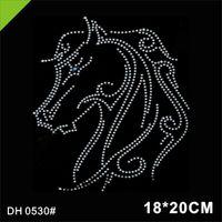 Бесплатная доставка горный хрусталь мотив Bling Horse оптом Rhinestone Crystal Transfer для футболок DH0530 #