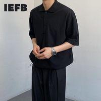Homme Polos IEFB Shirt Shirt Shirt Summer Coréen Lers Lâche Tee Marque Marque Noir Blanc Causal Tops 2021 9Y7977