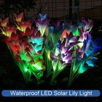 2 Pcs LED Solar Lily Light Waterproof Colorful Simulation Flower Festive Lawn Lamp Solar Light Garden Decoration Lantern 122 N2