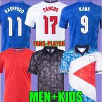 2021 Soccer Jerseys Foden Kane Rashford Sterling Mount Sancho Grealish 21 22, 1990 Retro Blackout Camicia da calcio Nazionale Uomini Bambini Kit Socks Uniform Top Thai