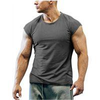 Men's T-Shirts 6 Colors Summer Men Short SleeveT Shirt Casual Round Neck Fit Funny Streetwear Solid Tshirt Hip Hop High Street Tops M-3XL