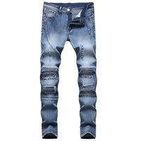 Jeans maschili uomo strappato in difficoltà motociclista stretch per uomo Pantaloni moto Skinny Brand Slim Plus Size 7066 706