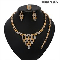 Earrings & Necklace Yulaili High Quality Crystal Choker Bracelet Stud Ring Trendy Accessories For Women African Jewelry Sets