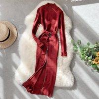 2021 Ucraina Delle Donne Vestito Vestido De Festa Vestidos Mujer Knit Knit Collar Manica lunga Borsa Sexy Hip Zip Zip Split Bright Donna