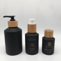 Storage Bottles & Jars Skin Care Packaging Bamboo Glass Dropper Bottle Black Frosted Spray Luxury Pump Shampoo Lotion