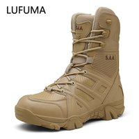 LUFUMA Erkekler Yüksek Kalite Marka Askeri Deri Çizmeler Özel Kuvvet Taktik Çöl Savaş erkek Botları Açık Ayakkabı Ayak Bileği Çizmeler 210312