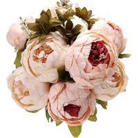 1 букет старинный искусственный пион шелк цветы букет для украшения свадьба деко таблица дома сад деко поддельный цветок