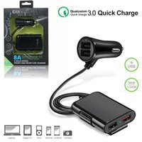 Car Charger 4USB Splitter Cigarette Lighter Socket QC 3.0 Phone Charging Power Adapter For Seat Back Charge Auto Electronics with retail box