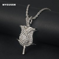 Pendant Necklaces Fashion Shining Rose Flower Necklace Men Gold & Silver Color With Free Tennis Chain Plant Gift Hip Hop Jewelry