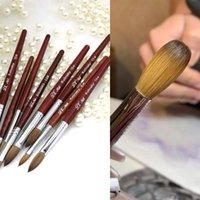 Наборы для ногтей Арт Наборы 100% Колинского Смеба Акриловая щетка для порошкового маникюра круглые деревянные ручки GEL Builder Щетки
