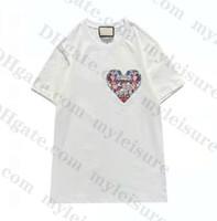 2021 New Fashion Herren T-Shirt European American Populärer Rundhalsausschnitt T-Shirt Kurzarm Kleiner Rot Herz Druck T-Shirt Männer Frauen Paare T-Shir