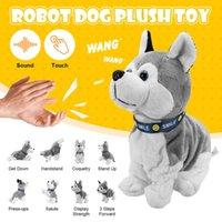 Robot electrónico Dog Control de sonido Niños Peluche Toy Toy Sound Control Interactivo Corteza Soporte Paseo Electrónico Juguetes Perro Para Bebé Regalos 210607