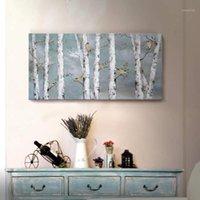 Gemälde Wandkunst Handgemalte Landschaft Wald Ölgemälde auf Leinwand Gold Vogel Birke Baum Kunstwerk Für Wohnzimmer Schlafzimmer Büro Decor1