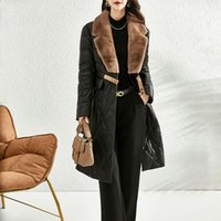 Women's Leather & Faux Real Collar Sheepskin Down Jacket Female Women Genuine Long Overcoats Autumn Winter Clothes Mujer Chaqueta