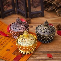 Fragrance Lamps Alloy Hollow Cover Aromatherapy Furnace Lotus Shaped Incense Burners Double Dragon Ear Treasures Fill The Home Censers