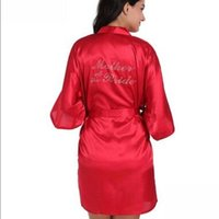 Women's Sleepwear Mother Of The Bride Robe On Back Wedding Silk Satin Kimono Fashion Night Short Dressing Gown For Wome