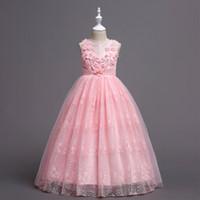 Девушки платье принцессы юбка длина средней школы детское свадебное платье кружевное шаль жилет вкус