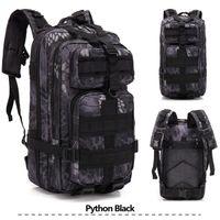 30L Büyük Kapasiteli Açık Taktik Sırt Çantası Pythons Tahıl Siyah Omuzlar Çanta Kamp Yürüyüş Tüfek Çanta Trekking Spor Seyahat
