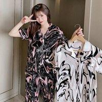 Sexy Seide Nachtwäsche Mädchen Satin Pyjamas Frauen Kurzarm Hosen Brief Gedruckt 2 Stück Pyjamas Anzug Designer Sommer Nachtwäsche