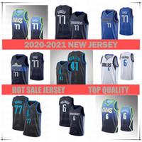 الرجال 2021 نيو جيرسي 6 كريستس بورزينجيس 41 ديرك Nowitzki 77 Luka Doncicjersey كرة السلة جيرسي