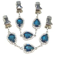 2Pcs lot Peacock Blue Crystal Jewelry Cape Cloak Clasps Shawl Sweater Clips Women Rhinestone Cardigan Scarf Chain Guard Brooch