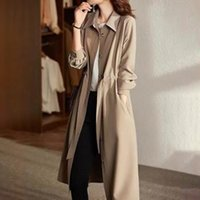 Women's Trench Coats Long Coat Single-Breasted Khaki Plain Pocket Sweet Overcoat Office Lady Windbreaker Gabardina Mujer Elegante