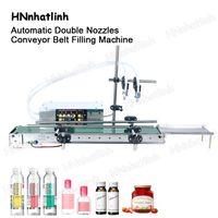 Automatico doppio ugelli macchina di riempimento liquido per profumo di bottiglia succo di olio essenziale piccolo trasportatore impermeabile 10-3000ml dpyt200
