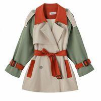 새로운 봄 가을 겉옷 여성 짧은 공구 트렌치 코트 여성 느슨한 캐주얼 윈드 브레이커 패션 여성 의류 Overcoat 04yo #