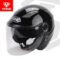 Motorcycle Helmets 2021 Summer YOHE Double Lens Half Face Helmet YH-837-R Cover Motorbike Made Of ABS And PC Visor