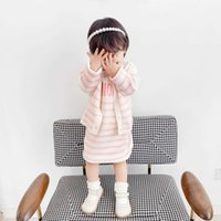 Autumn Sweet Girls Suits Kids Striped knitting cardigan with short sleeve dress 2pcs set Children's girl Clothing two colors
