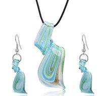 Streamer Glitter Murano Lampwwork Blown Veletian Vetro Pendenti in vetro collane e orecchini Set di gioielli Set di gioielli Handmade Moda Gioielli170 T2