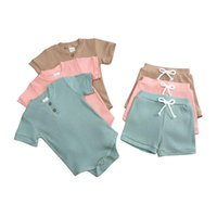 Clothing Sets Casual Baby Boy Clothes Solid Color Toddler Girl Outfits Cotton Short Sleeve Tops+Shorts Summer Born 3-24 Months