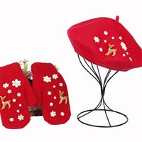 Hats, Scarves & Gloves Sets Christmas Gift Women Warm Gloves&Hat Set Red Thicken Mittens Berets With Moose Fashion Hair DIY Year