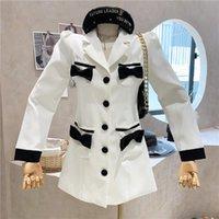Women's Suits & Blazers Niche Design Clothing 2021 Autumn Vintage Long Sleeve Bow Blazer Coat Top