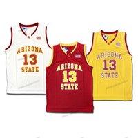 Schiff aus US James Harden # 13 Arizona Bundesstaat Basketball Jersey College Sun Devils Herren genäht Weiß Rot Yellowtop Qualität Trikots