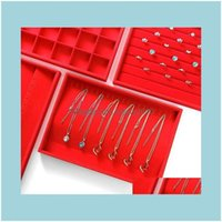 Bags & Jewelryred Veet Jewellery Storage Box Jewelery Organizer Gift Packaging Jewerly Display Tray Stand Various Model In Stock Jewelry Pou